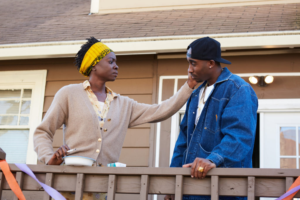 DANAI GURIRA as Afeni Shakur and DEMETRIUS SHIPP JR as Tupac Shakur in ALL EYEZ ON ME, a biopic that chronicles the life and legacy of Tupac Shakur, including his rise to superstardom as a hip-hop artist, actor, poet and activist, as well as his imprisonment and prolific, controversial time at Death Row Records.