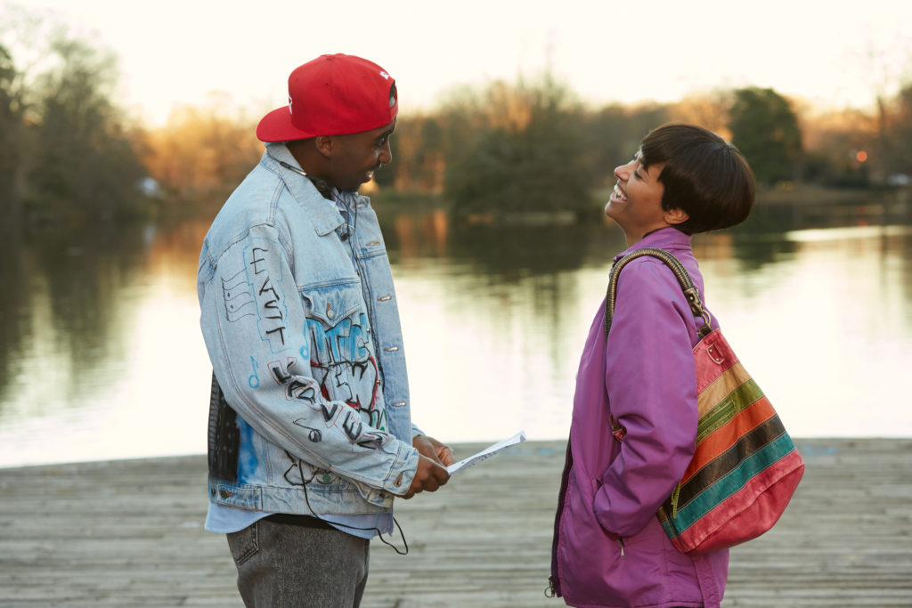 DEMETRIUS SHIPP JR. as Tupac Shakur and KAT GRAHAM as Jada Pinkett in ALL EYEZ ON ME, a biopic that chronicles the life and legacy of Tupac Shakur, including his rise to superstardom as a hip-hop artist, actor, poet and activist, as well as his imprisonment and prolific, controversial time at Death Row Records.